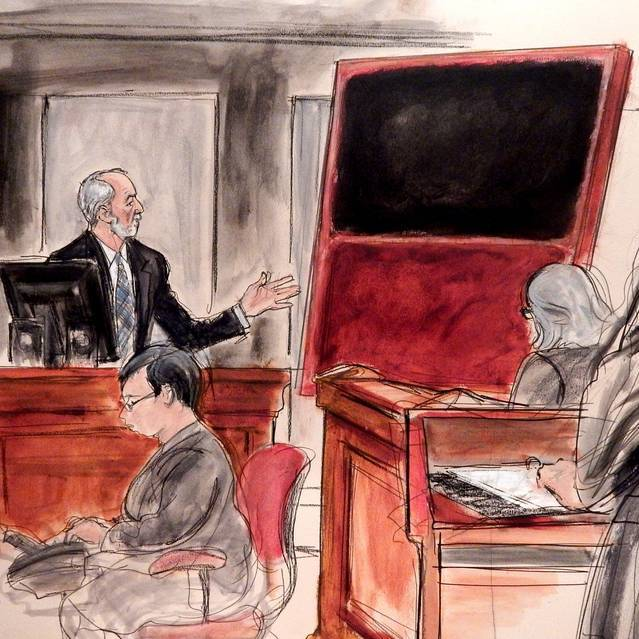 A courtroom sketch of a fake Mark Rothko painting bought by Domenico de Sole from Knoedler Gallery—the only Knoedler fraud case to go to trial. Photo: Elizabeth Williams/www.elizabethwilliamstudio.com.