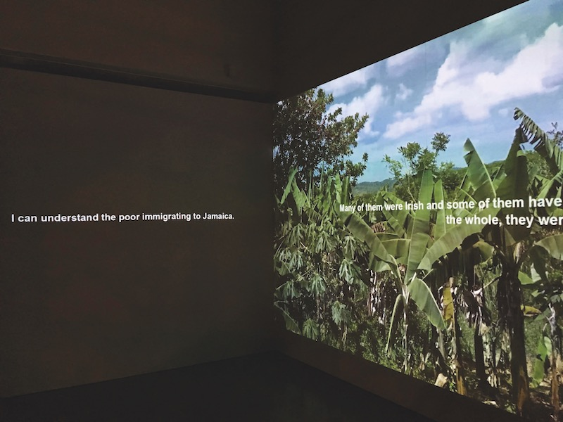 Marianne Keating, Landlessness, 2017, two-channel video projection, color, sound, 26 minutes 53 seconds. Installation view.