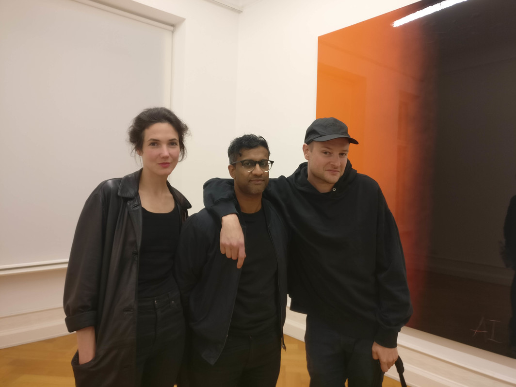 Curator Annika Kuhlmann and artists Christopher Kulendran Thomas and Simon Denny.