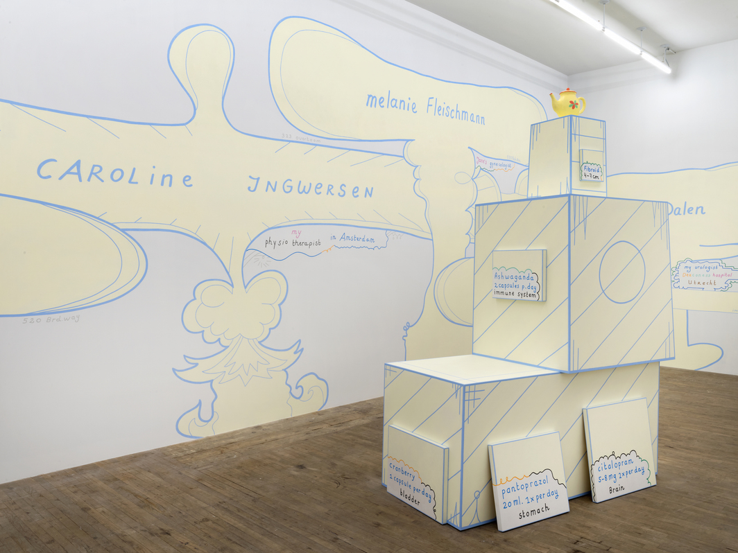 "View of ""Lily van der Stokker: Exhibition of the Medicines,"" 2019."