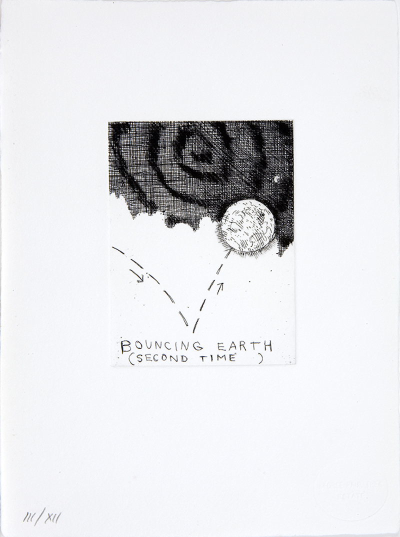 "Paul Thek, Untitled (Bouncing Earth, 2nd Time), 1975/92, etching on handmade Twinrocker paper, 10 x 7 1/2""."