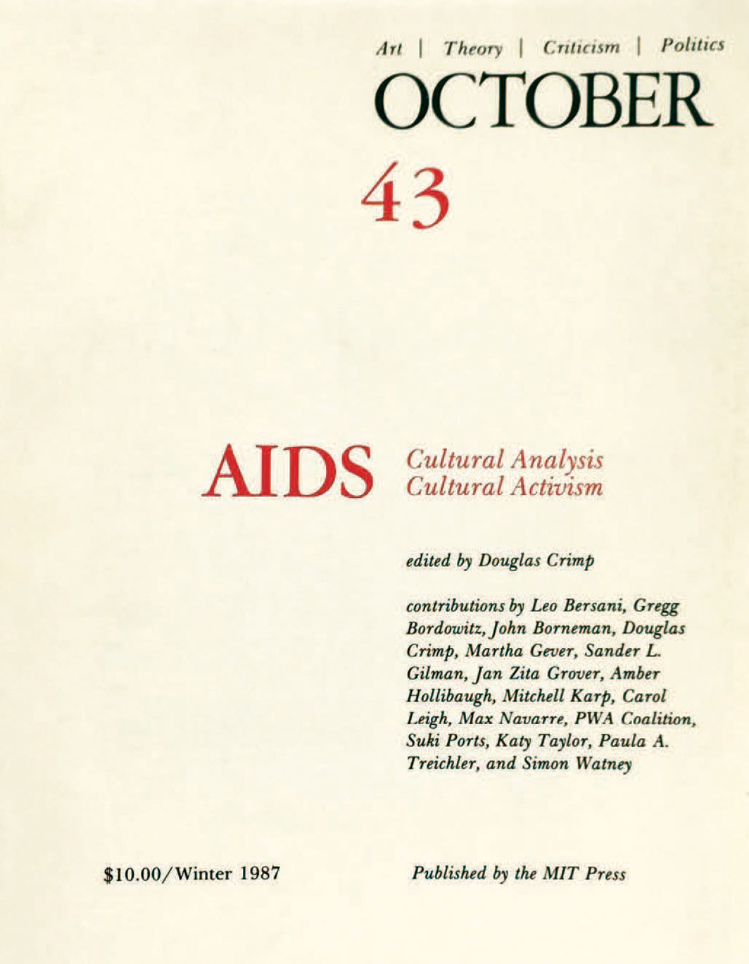 Cover of October 43 (Winter 1987).
