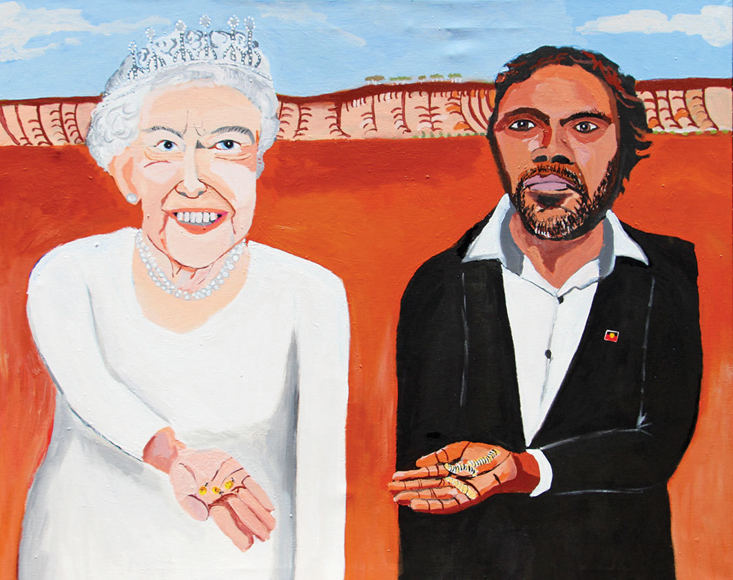 "Vincent Namatjira, Queen Elizabeth and Vincent (On Country), 2018, acrylic on canvas, 48 × 61""."