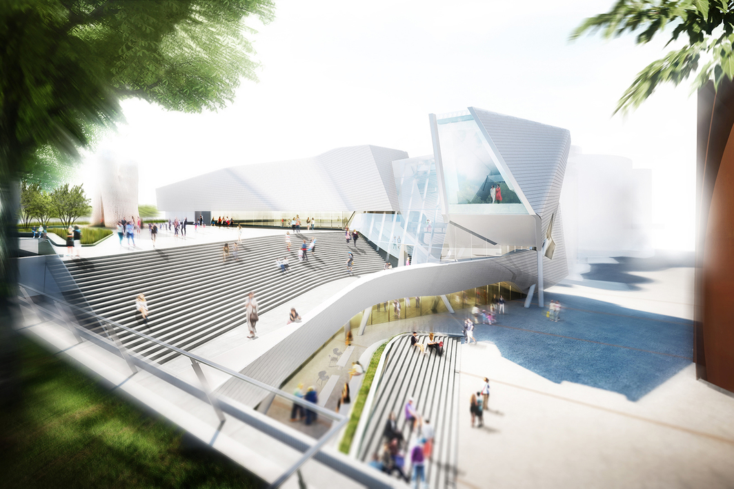 Rendering of the new Orange County Museum of Art. Courtesy of Morphosis Architects.