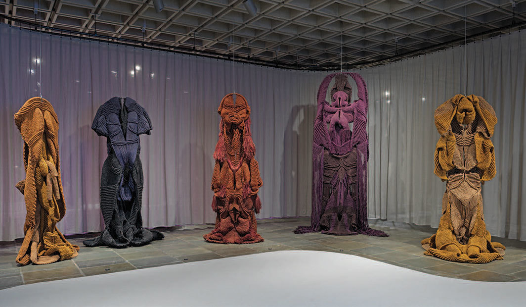 "View of ""Mrinalini Mukherjee,"" 2019. From left: Basanti, 1984; Yakshi, 1984; Pakshi, 1985; Rudra, 1982; Devi, 1982."