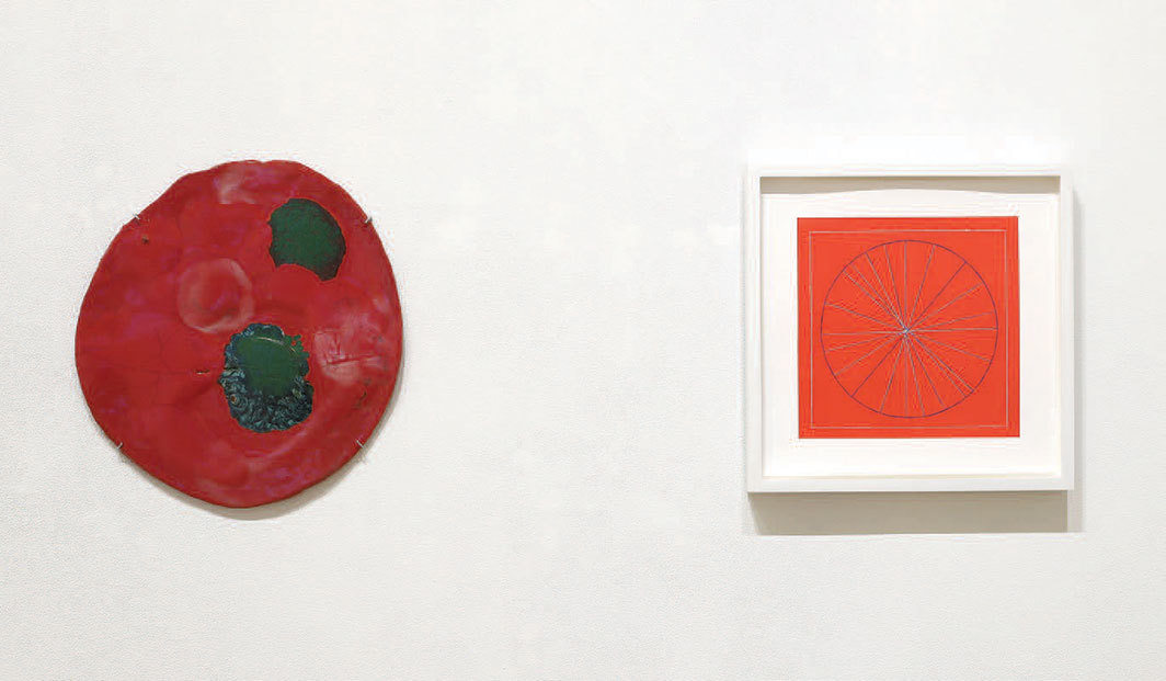 "View of ""Polly Apfelbaum and Betsy Kaufman,"" 2019. From left: Polly Apfelbaum, Rose Moon, 2018–19; Betsy Kaufman, untitled (#30), 2015."