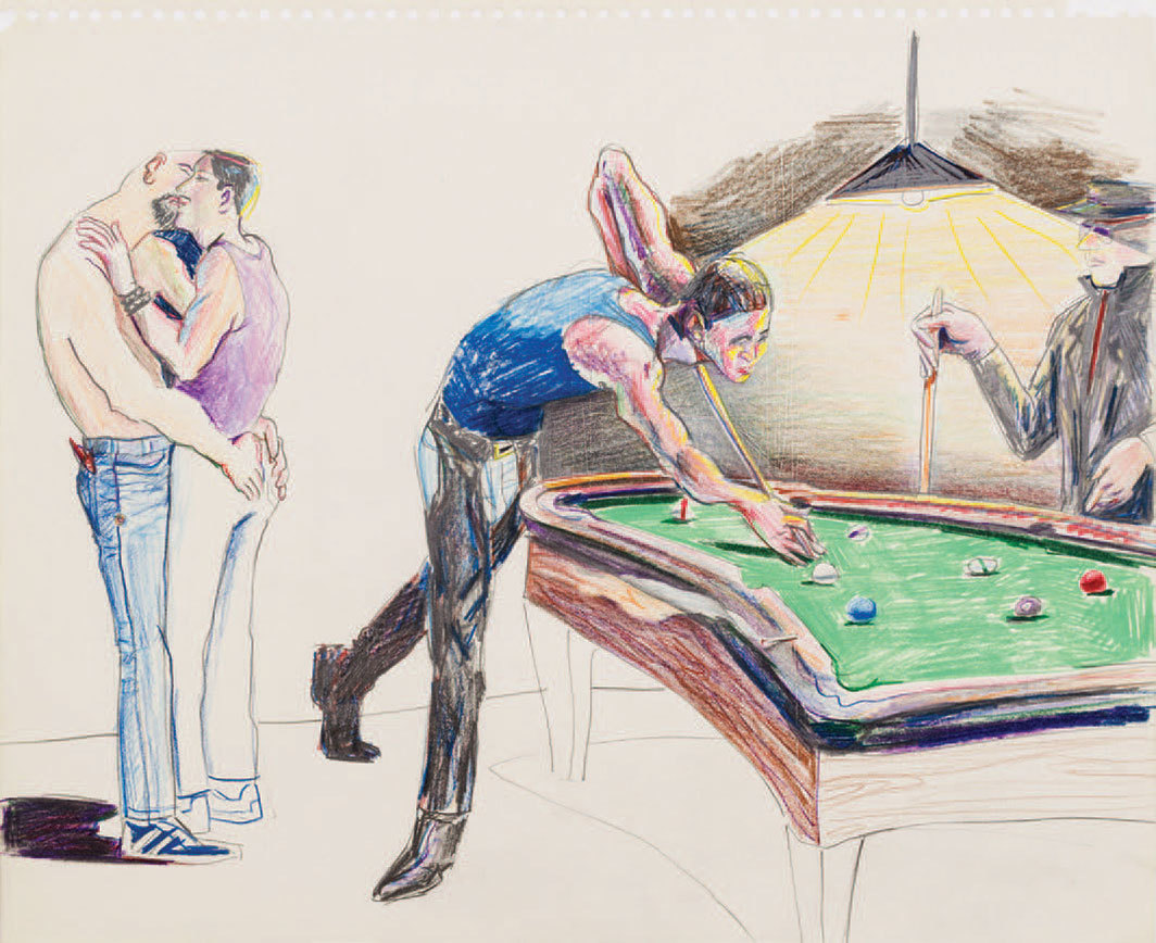 "Patrick Angus, Untitled (Pool Hall), date unknown, crayon on paper, 14 × 17""."
