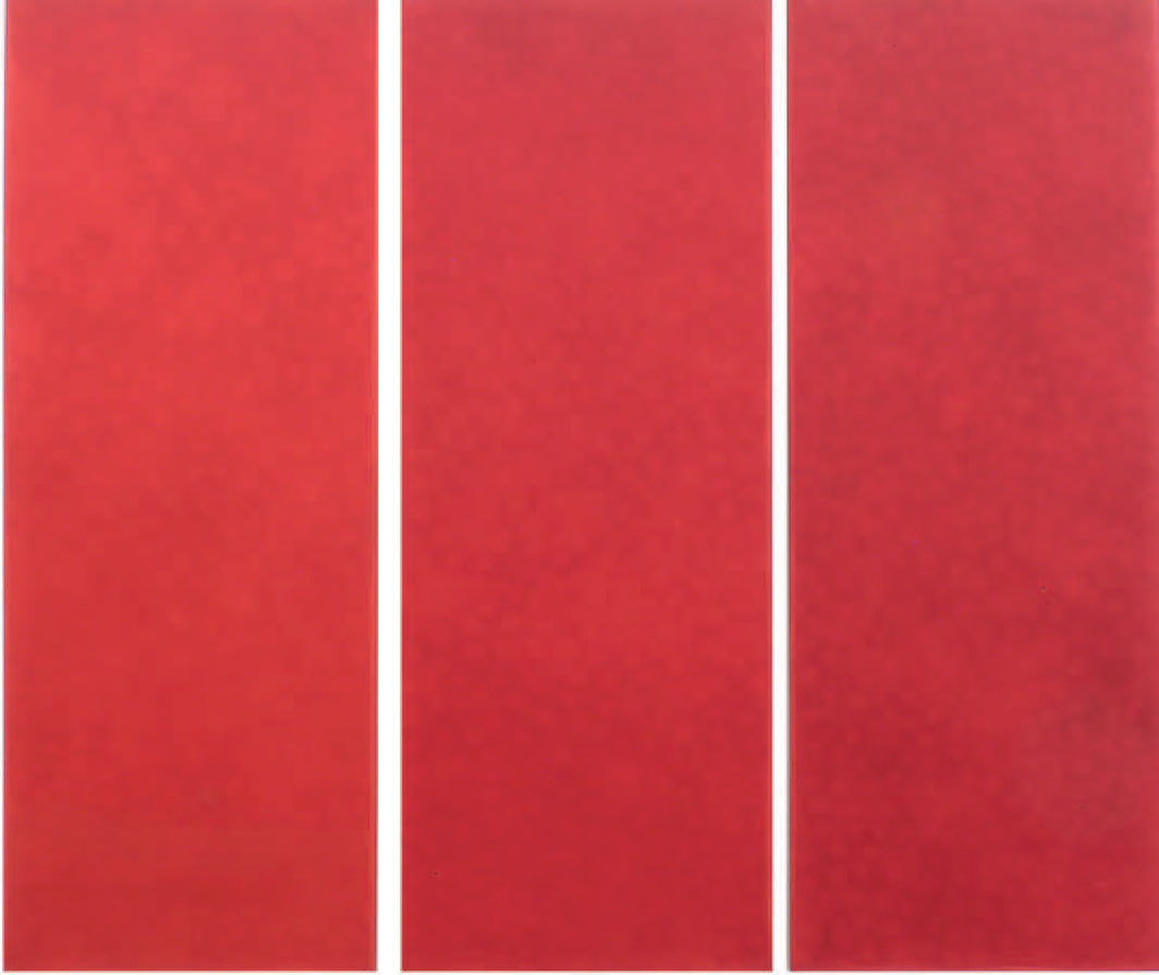 "Pino Pinelli, Pittura R (Painting R), 1974, triptych, acrylic on canvas, each part 90 1⁄2 × 35 3⁄8""."