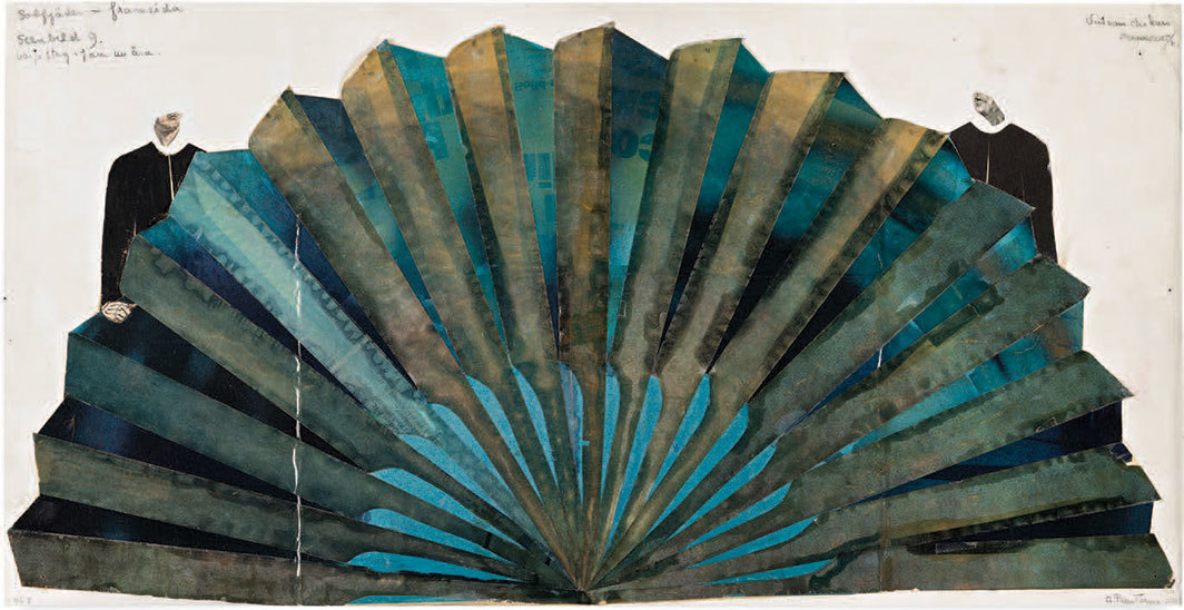 "Gunilla Palmstierna-Weiss, Scenography 9: A Vietnamese oar folds out to a fan and forms a backdrop, Viet Nam Diskurs, 1968, 1967, mixed media, 11 5⁄8 x 23 3⁄8""."