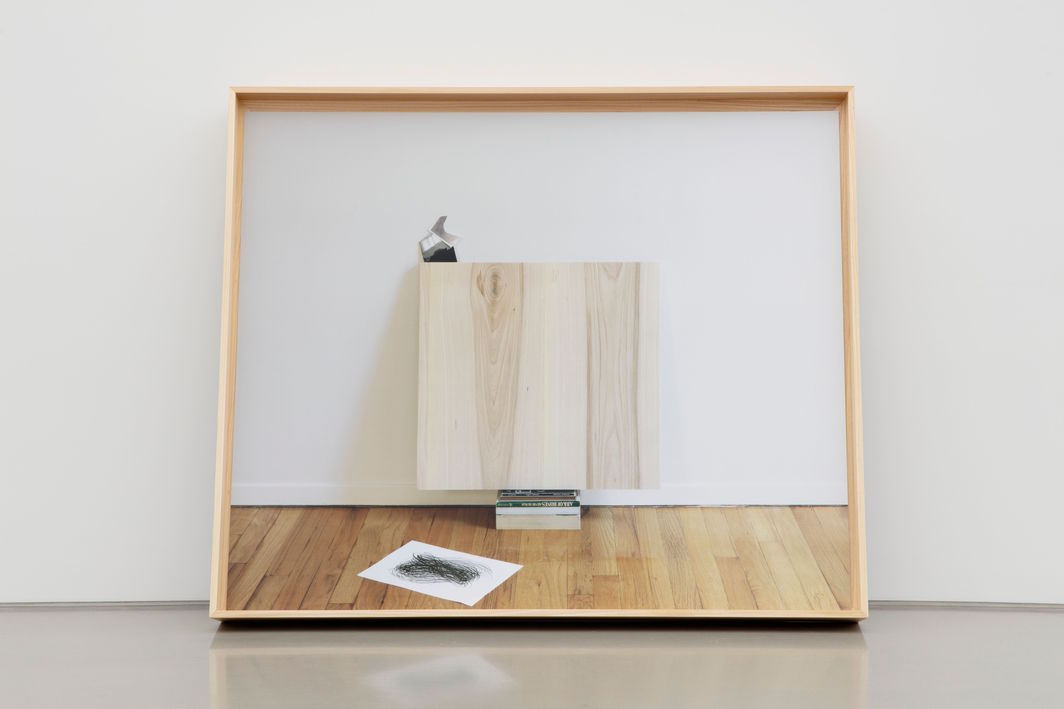 "Leslie Hewitt, Untitled (Dreambook or Axis of the Ellipse), 2019, digital chromogenic print in wood frame, 52  x 62  x 7""."