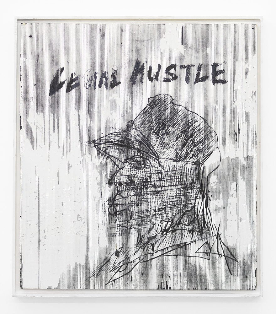 "Gareth Nyandoro, Legal hussle II, 2019, ink on paper on canvas on board, 24 x 21 1/4""."