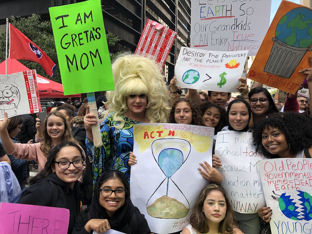 Lady Bunny with climate strikers. Photo: Mary Ellen Carroll.