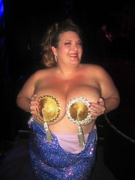 Jezebel Express showing off her pair of Golden Pastie Awards.