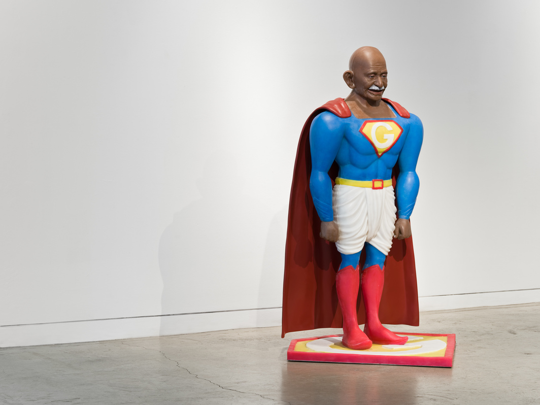 "Debanjan Roy, Toy Gandhi 4 (Superhero), 2019, silicone and automotive paint, 56 x 38 x 32""."