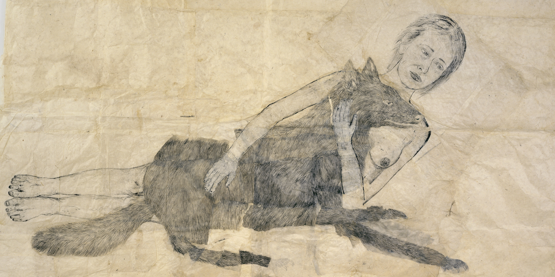 "Kiki Smith, Lying with the Wolf (detail), 2001, ink and pencil on paper, 72 x 88""."