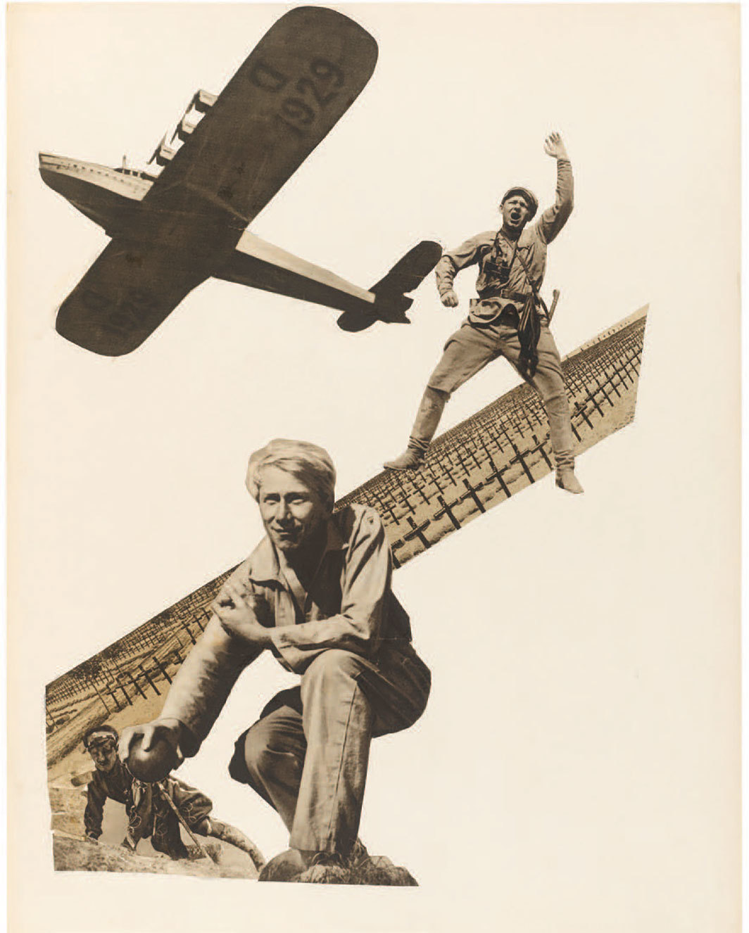 "Marianne Brandt, Untitled (Airplane, Soldiers and Military Cemetery), ca. 1930, collage on cardboard, 25 5⁄8 × 19 3⁄4"". © Artists Rights Society (ARS), New York/VG Bild-Kunst, Bonn. Kupferstich-Kabinett, Staatliche Kunstsammlungen Dresden."