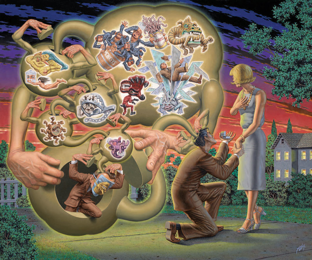 "Robert Williams, The Fraught Proposal, 2014, oil on canvas, 30 × 36""."