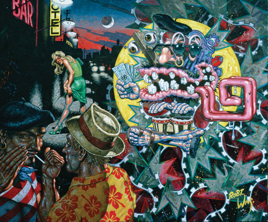 "Robert Williams, The Appearance of the Emblemata of the Beat Generation, 1987, oil on canvas, 36 × 30""."