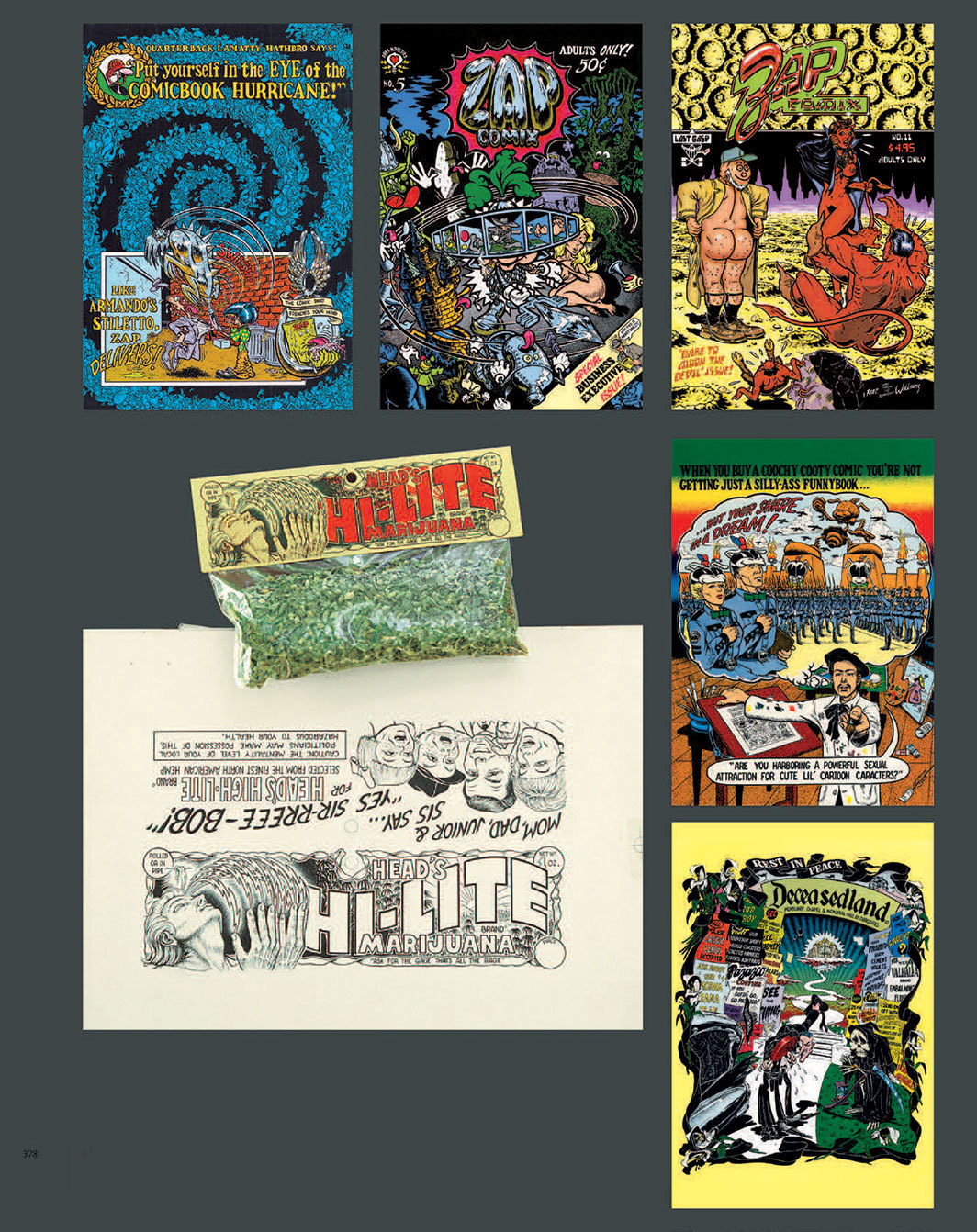 Various underground comic covers, 1970–85, and marijuana packaging, 1967, by Robert Williams.