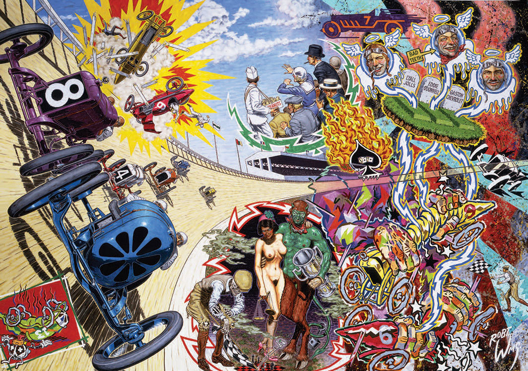 "Robert Williams, Death on the Boards, 1992, oil on canvas, 60 × 84""."