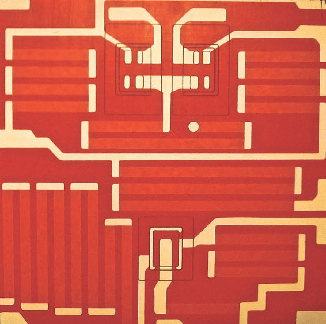 "Ulla Wiggen, Vägledare (Microcircuit), 1967, acrylic on wooden panel, 27 1⁄2 × 27 1⁄2""."
