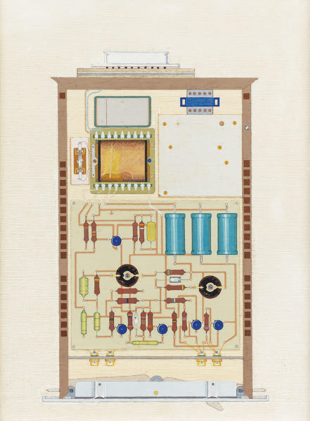 "Ulla Wiggen, Förstärkare (Amplifier), 1964, gouache on wooden panel and gauze, 13 3⁄4 × 9 7⁄8""."