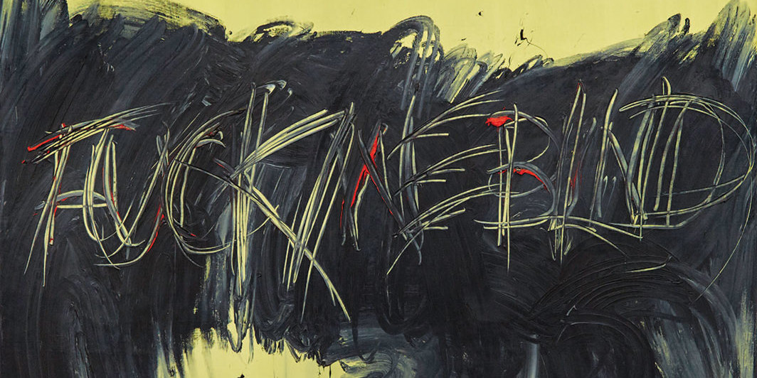 "Derek Jarman, Fuck Me Blind, 1993, oil on canvas, 98 7⁄8 × 70 1⁄2"". From the series ""Evil Queen,"" 1993."