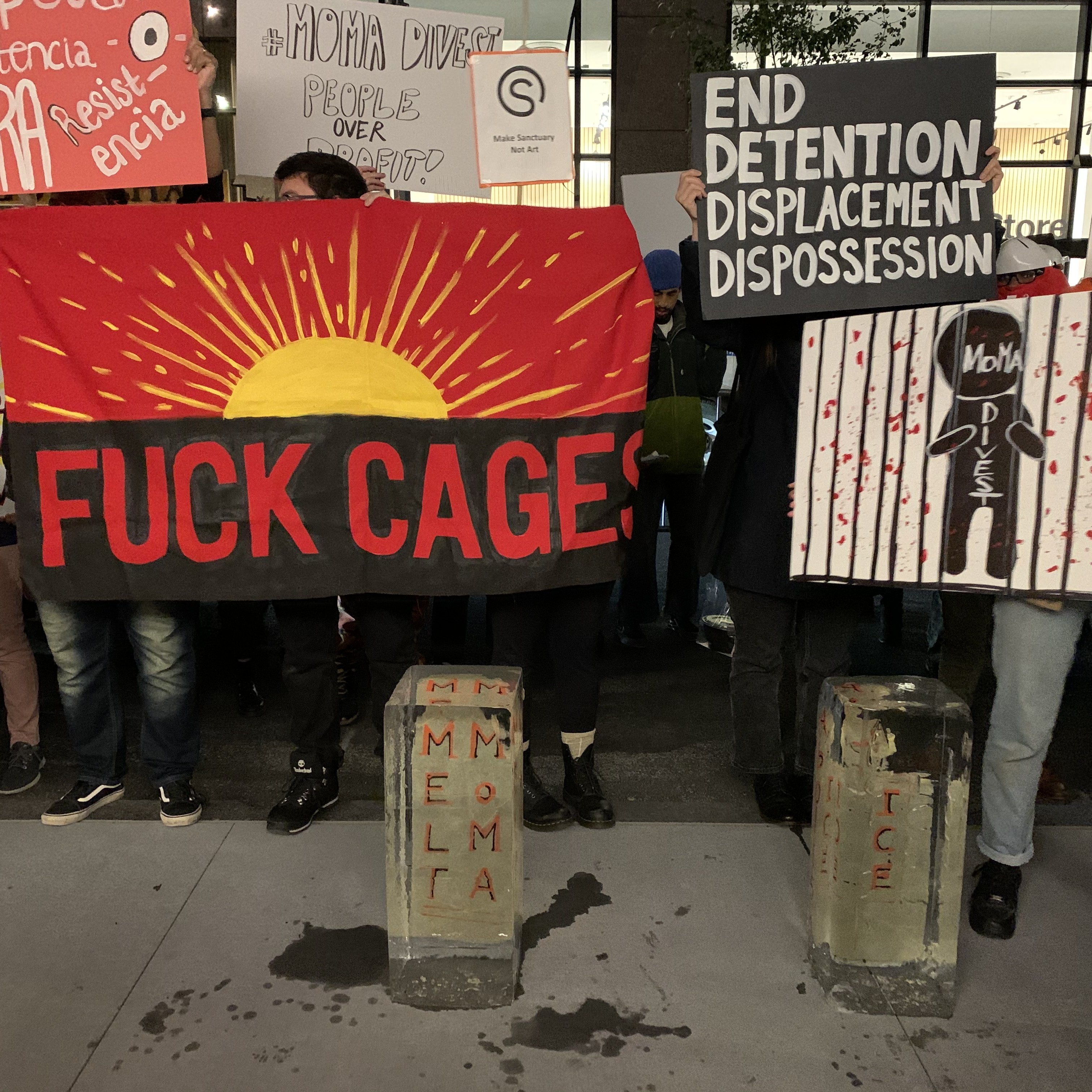 Protesters outside of MoMA on Friday, October 18. Photo: Lauren Cavalli.
