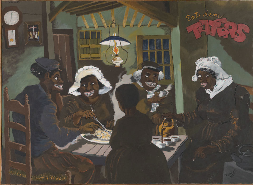 "Robert Colescott, Eat Dem Taters, 1975, acrylic on canvas, 59 × 79""."
