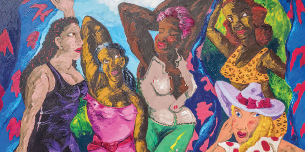 "Robert Colescott, Les Demoiselles d'Alabama: Vistidas, 1985, acrylic on canvas, 96 × 92""."