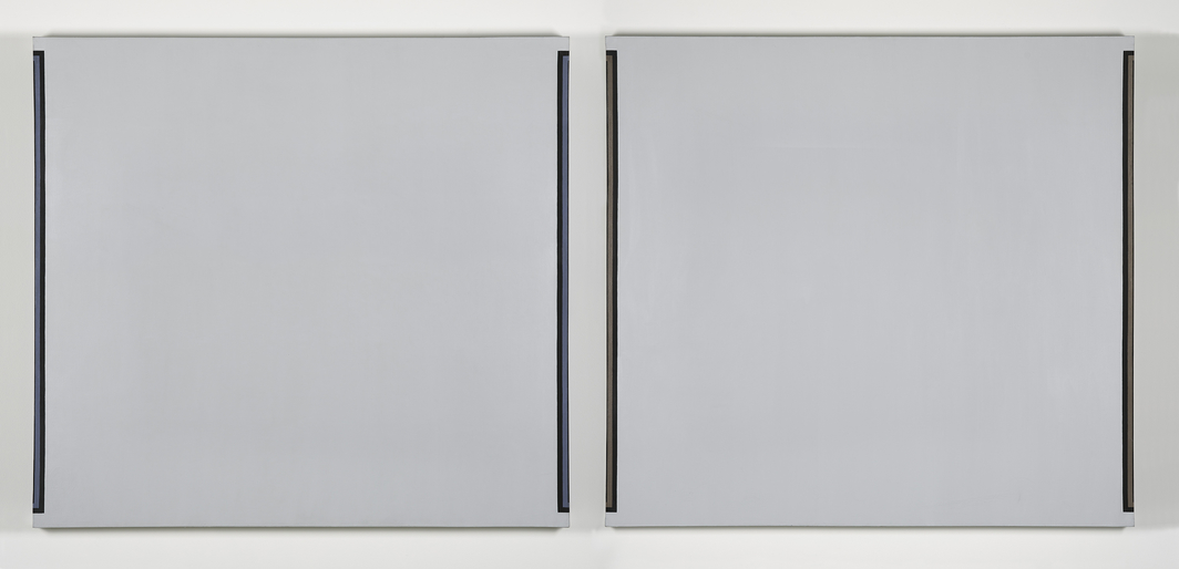 "Jo Baer, Untitled, 1969, diptych, oil on canvas, each 48 x 52""."