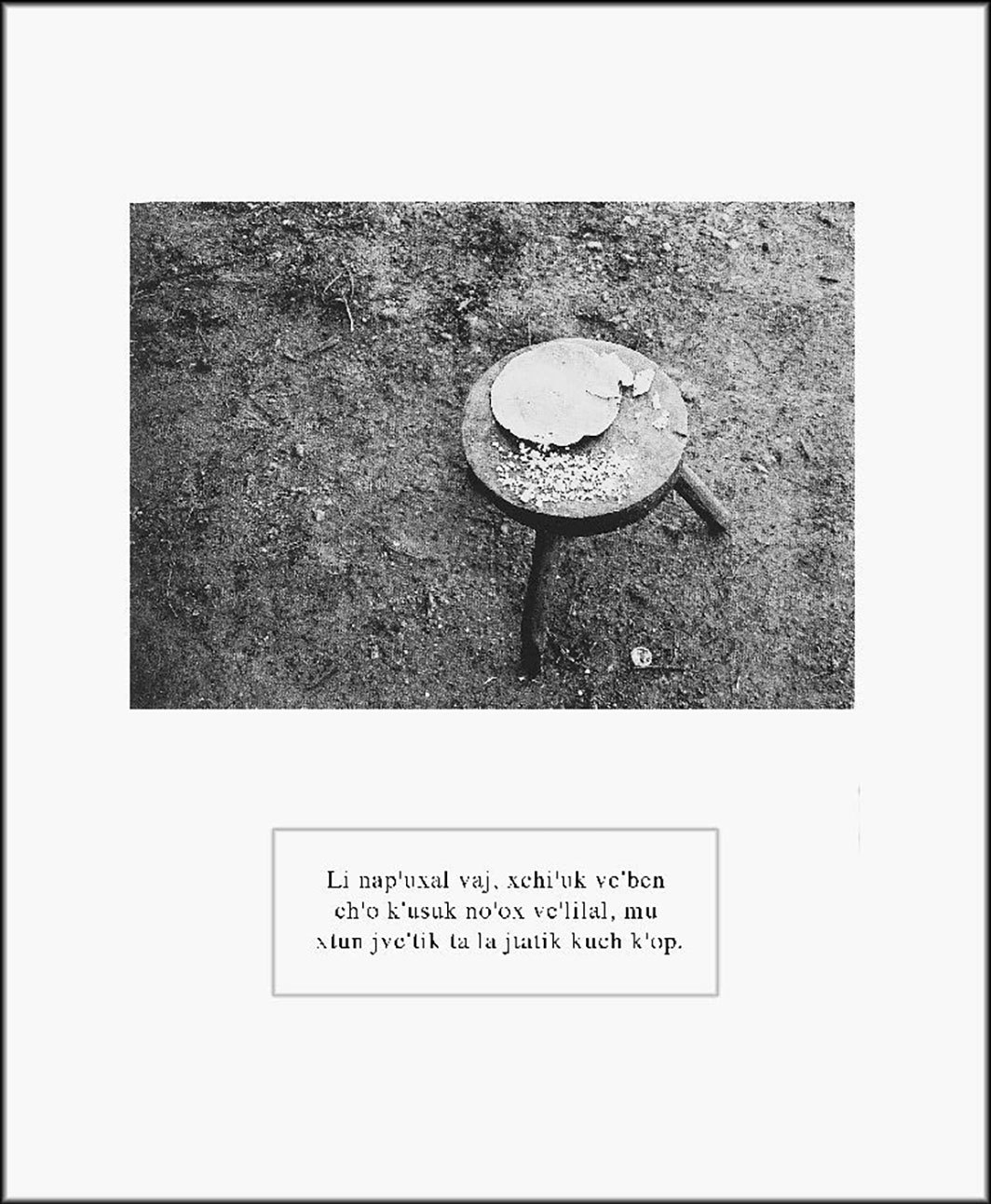 "Maruch Sántiz Gómez, Pedazos de tortilla quemada y lo mordido por el ratón (Pieces of Burnt Tortilla and Bitten by the Mouse), 1994, gelatin silver print on paper, 22 5⁄8 × 18 3⁄4"". From the series ""Creencias"" (Beliefs), 1994–96. From ""Los huecos del agua"" (The Gaps of Water)."