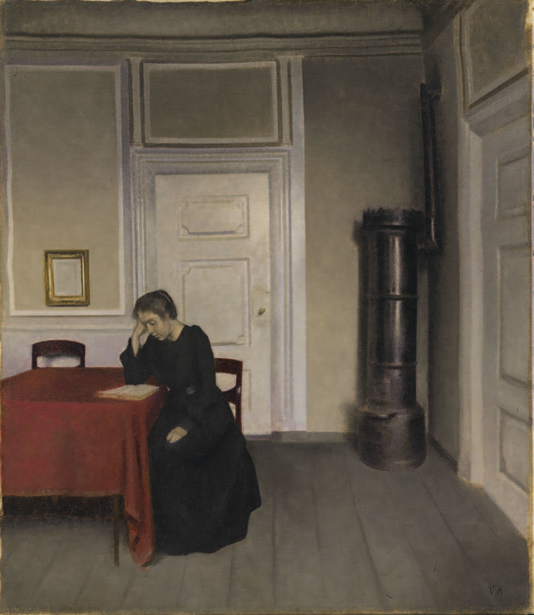 "Vilhelm Hammershøi, A Room in the Artist's Home in Strandgade, Copenhagen, with the Artist's Wife, 1902, oil on canvas, 25 × 23 5⁄8""."