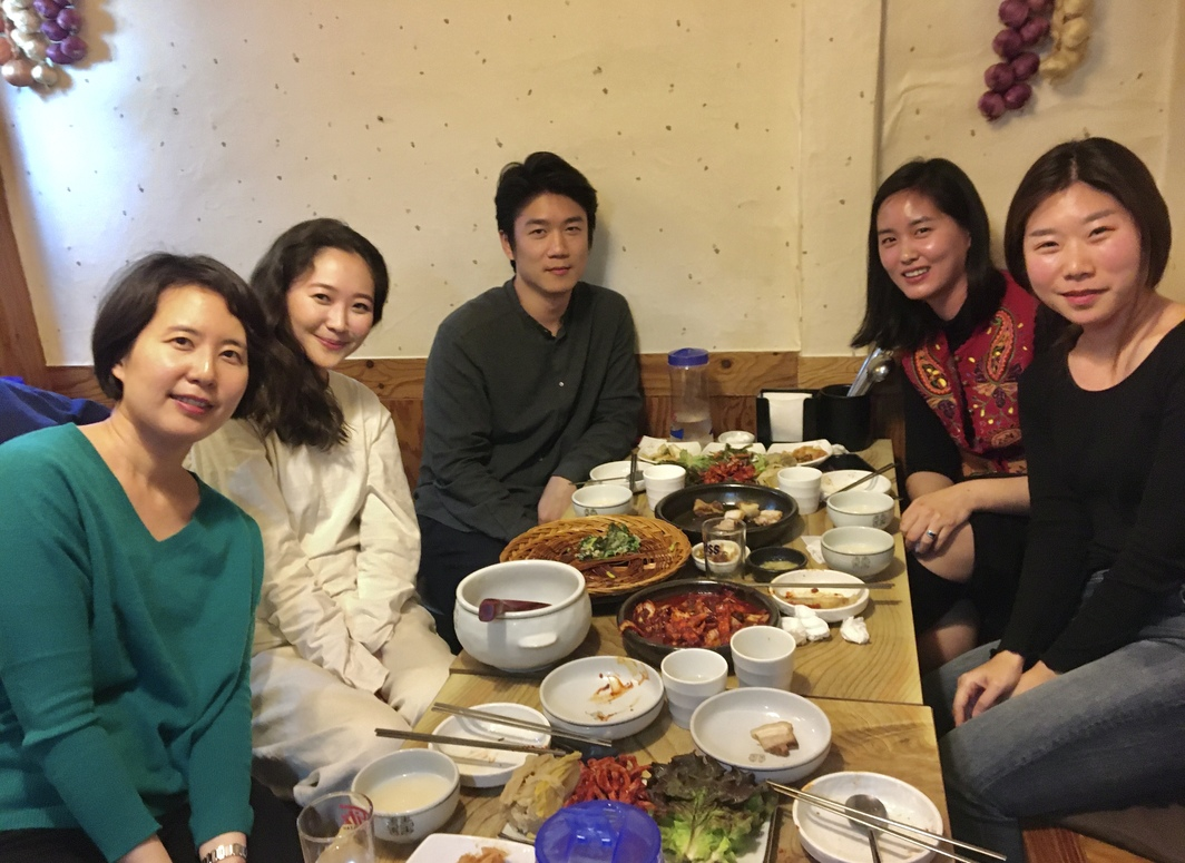 Art historian Haeyun Park; Katie Sangmin Lee; Jaeho Chong; artist Dachal Choi; curator Hyo Gyoung Jeon of Art Sonje Center.