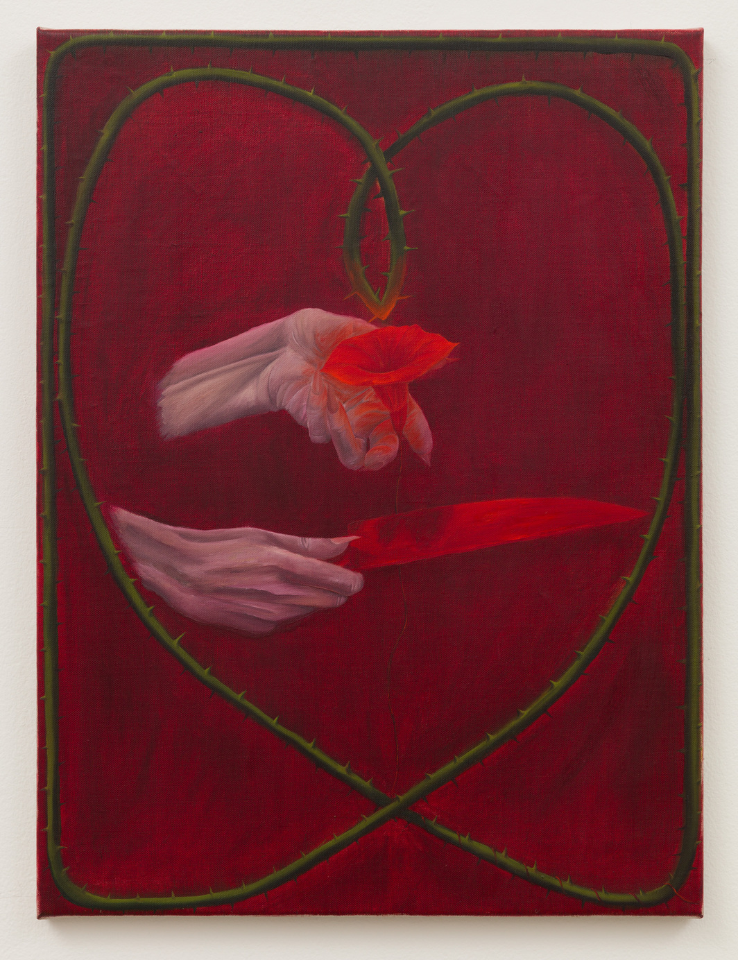 "Srijon Chowdhury, Red Morning Glory, Red Knife, 2019, oil on linen, 24 x 18""."