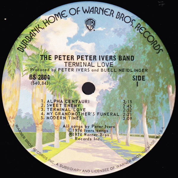 Side one of the Peter Peter Ivers Band's Terminal Love (1974).