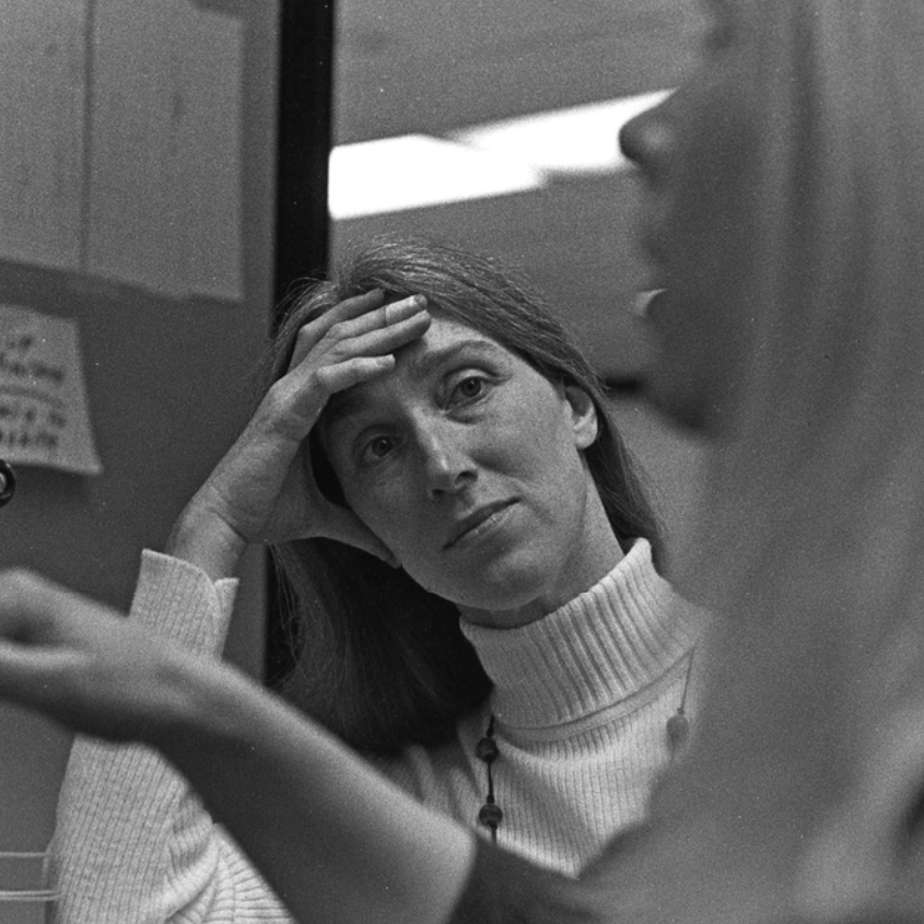 Sally Dixon in conversation with Gunvor Nelson, ca. 1975. Photo: Robert Haller. Courtesy of the Carnegie Museum of Art.