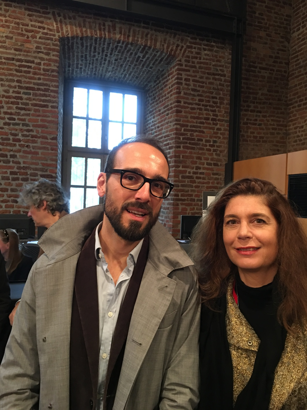 Lorenzo Giusti, director of GAMeC, Bergamo, and Christine Macel, chief curator Centre Pompidou, Paris.