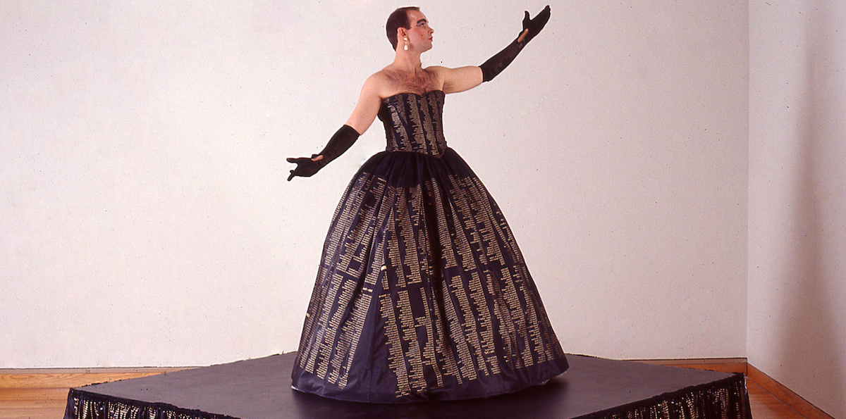 Hunter Reynolds, Patina du Prey's Memorial Dress, 1993. Performance view, The ICA Boston. Photo: Charles Mayer.