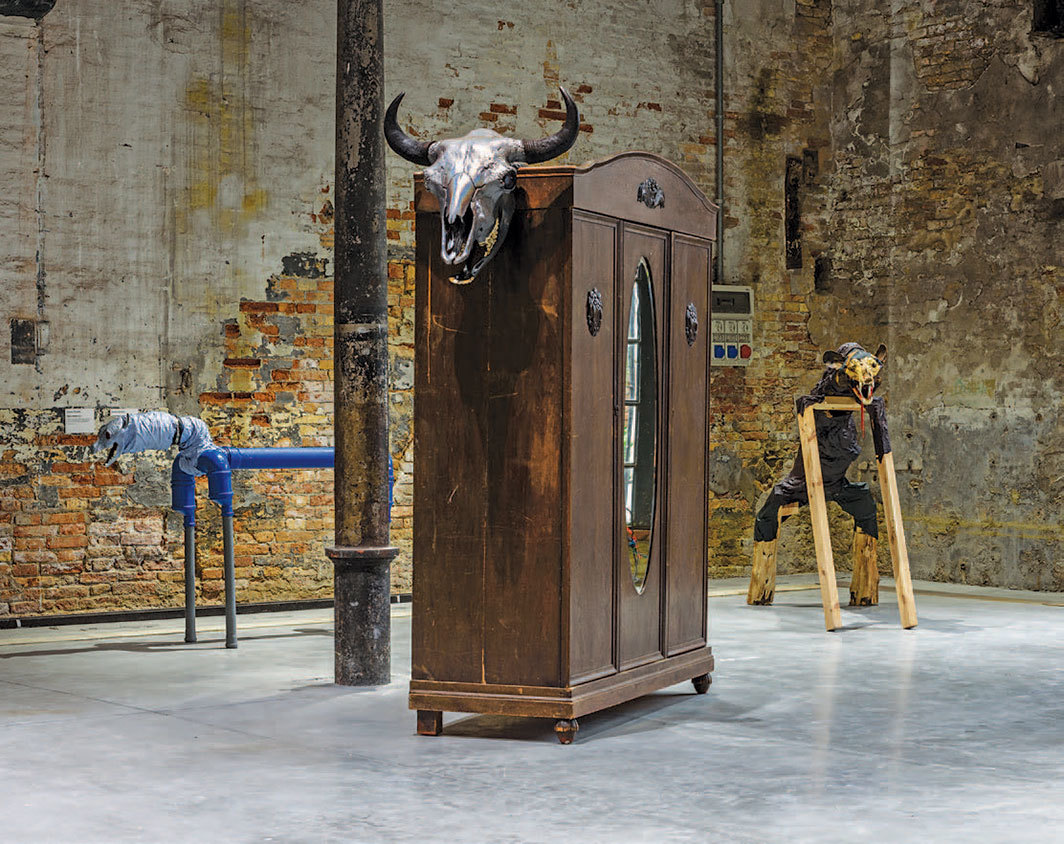 "View of ""May You Live in Interesting Times,"" 2019, Arsenale, Venice. From left: Jimmie Durham, Great Dane, 2017; Jimmie Durham, Bison/Wisent, 2017; Jimmie Durham, Brown Bear, 2017. From the 58th Venice Biennale. Photo: Andrea Avezzù."