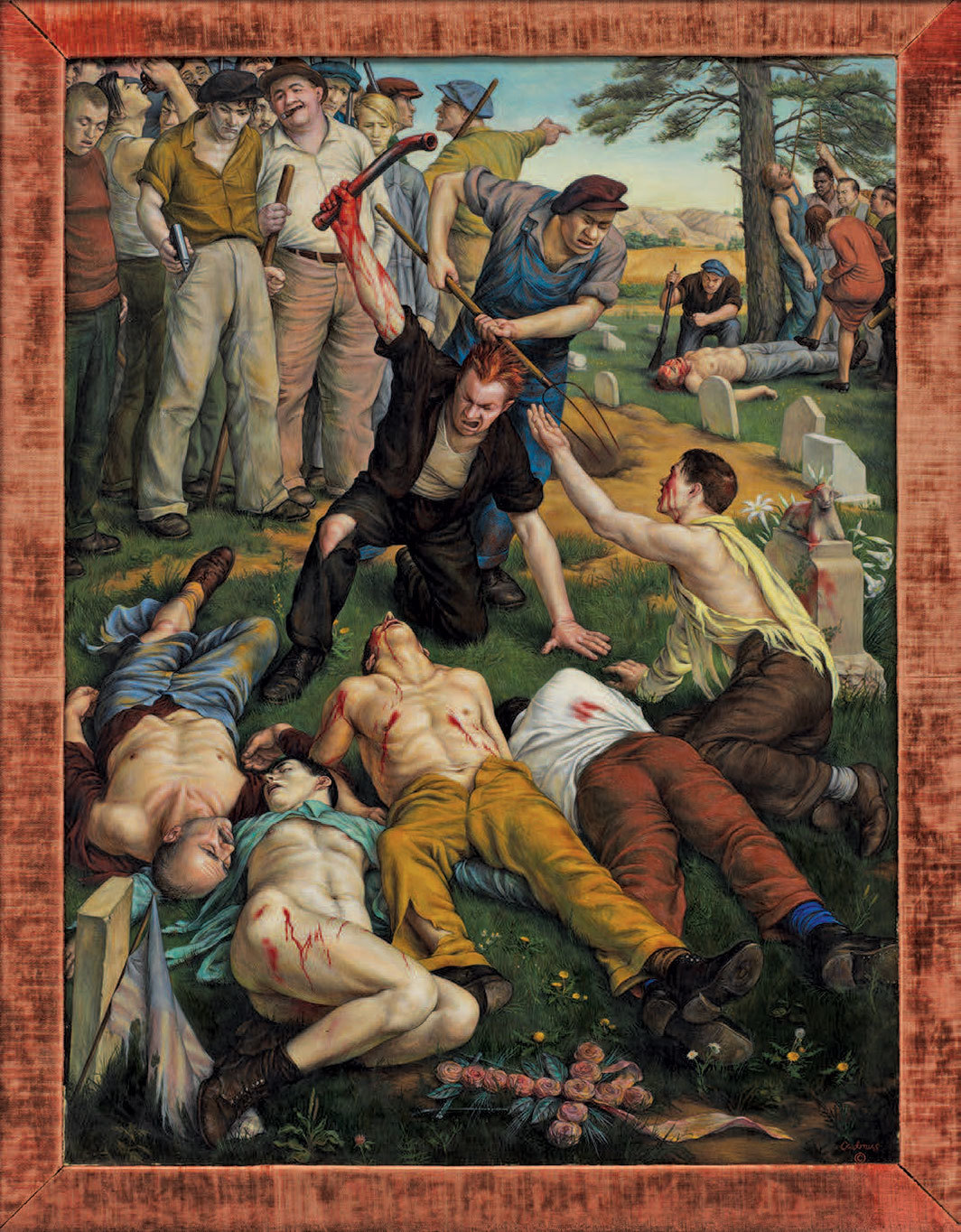"Paul Cadmus, Herrin Massacre, 1940, tempera and oil on panel, 35 1⁄8 × 26 3⁄4""."