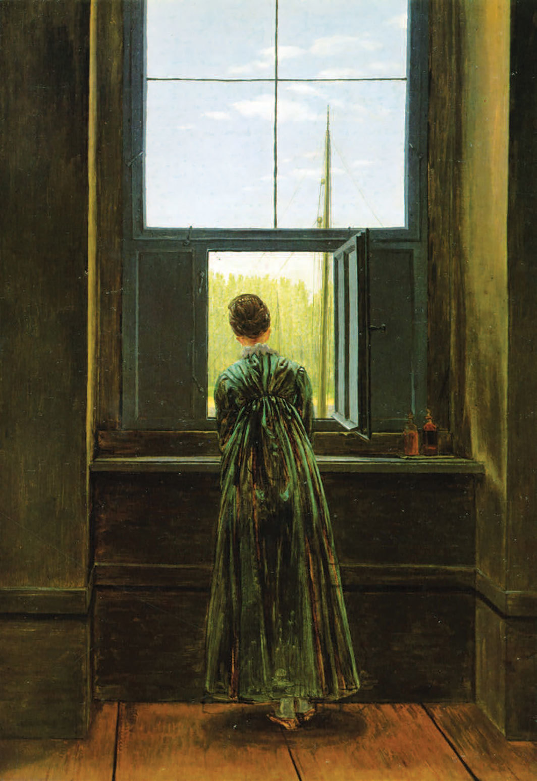 "Caspar David Friedrich, Woman at a Window, 1822, oil on canvas, 17 1⁄4 × 14 1⁄2""."