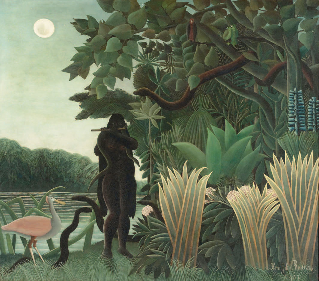 "Henri Rousseau, La charmeuse de serpents (The Snake Charmer), 1907, oil on canvas, 63 3⁄4 × 74 5⁄8""."