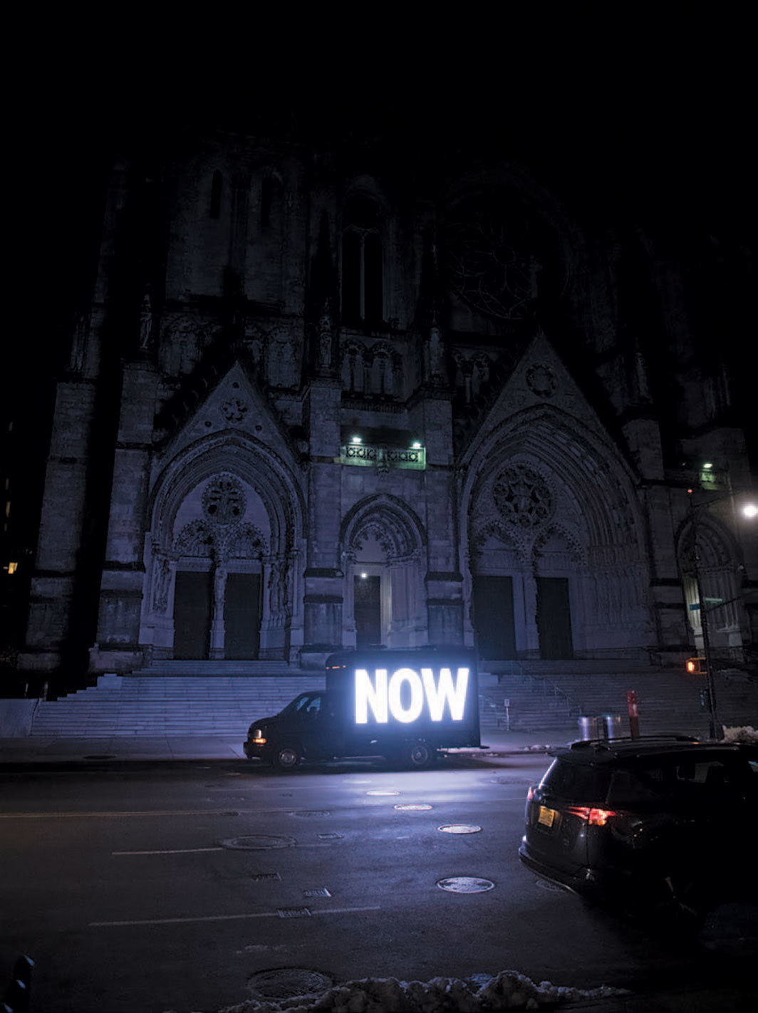 Jenny Holzer, IT IS GUNS, 2018, LED screens on trucks. Installation view, New York, 2018. Photo: Joe Carrotta.