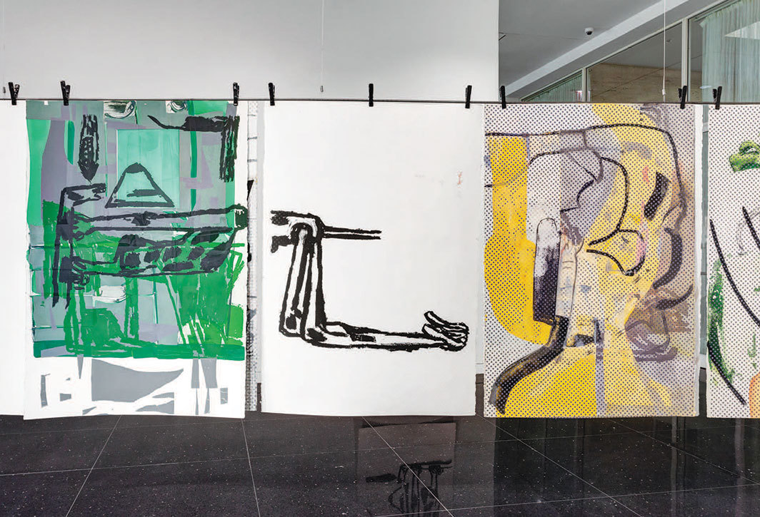 Amy Sillman, Dub Stamp (detail), 2018–19, acrylic, ink, and silk screen on multiple sheets of paper. Installation view, Arts Club of Chicago, 2019. Photo: RCH Documentation.