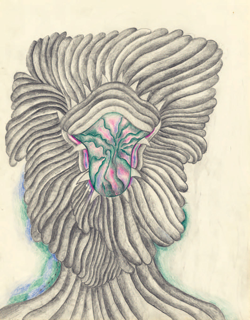 "Suellen Rocca, Beware of My Mouth, 1981, graphite and colored pencil on paper, 14 × 11""."