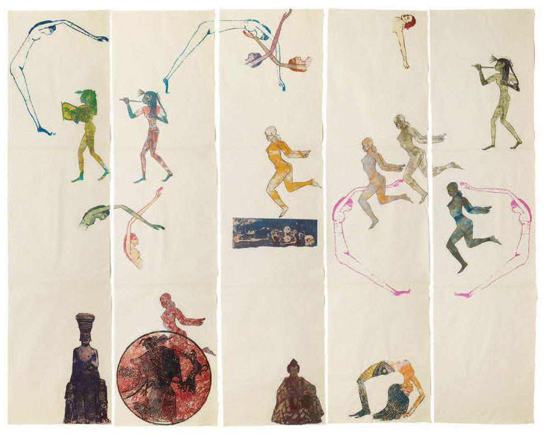 "Nancy Spero, The Goddess Nut II, 1990, zinc and polymer plate printing, printed collage on paper, overall 84 × 108""."