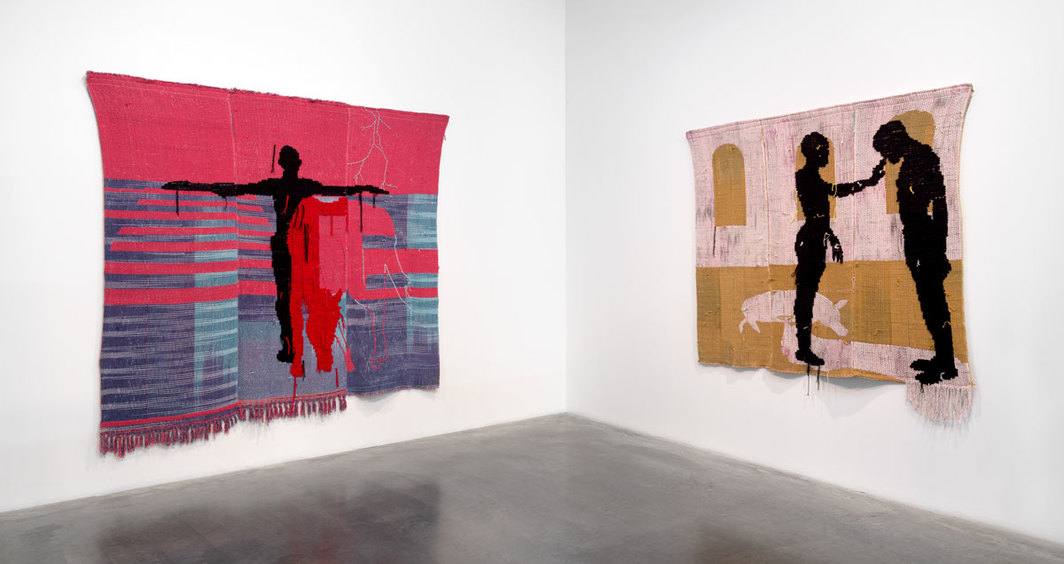 "View of ""Diedrick Brackens: darling divined,"" 2019, New Museum, New York. From left: demigod, 2019; opening tombs beneath the heart, 2018. Photo: Dario Lasagni."