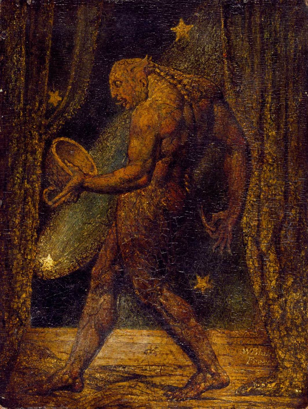 "William Blake, The Ghost of a Flea, ca. 1819–20, tempera and gold on mahogany, 8 3⁄8 × 6 3⁄8""."
