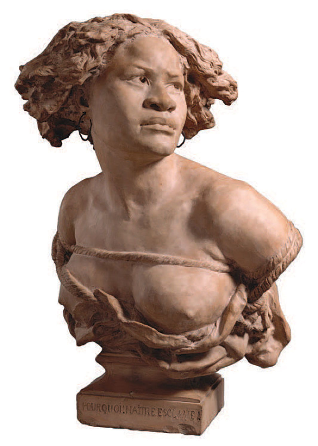 "Workshop of Jean-Baptiste Carpeaux, Pourquoi! Naître esclave! (Why! Born Enslaved!), 1872, cast terra-cotta, 24 × 18 × 14""."